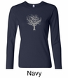 Ladies Yoga Shirt Grey Tree of Life Long Sleeve Shirt