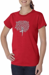 Ladies Yoga Shirt Grey Tree Pose Organic Tee T-Shirt