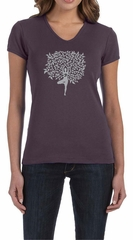 Ladies Yoga Shirt Grey Tree Pose V-neck Tee T-Shirt