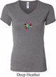 Ladies Yoga Shirt Hippie Sun Patch Middle Print V-neck Tee T-Shirt