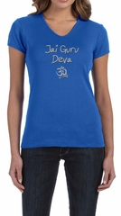 Ladies Yoga Shirt Jai Guru Deva V-neck Tee T-Shirt