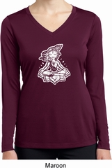Ladies Yoga Shirt Krishna Dry Wicking Long Sleeve Tee T-Shirt