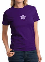 Ladies Yoga Shirt Layered Flower Patch Tee T-Shirt