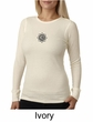Ladies Yoga Shirt Black Lotus OM Patch Small Print Long Sleeve Thermal