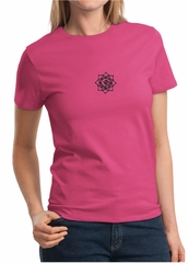 Ladies Yoga Shirt Black Lotus OM Patch Small Print Tee T-Shirt