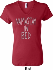 Ladies Yoga Shirt Namastay In Bed V-neck Tee T-Shirt