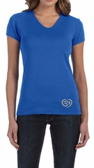 Ladies Yoga Shirt OM Heart Bottom Print V-neck Tee T-Shirt