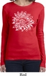 Ladies Yoga Shirt Sketch Lotus Long Sleeve Tee T-Shirt