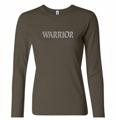 Ladies Yoga Shirt Warrior Text Long Sleeve Tee T-Shirt
