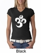 Ladies Yoga Shirt White Distressed OM V-neck Tee T-Shirt