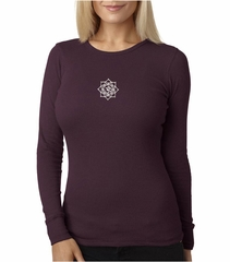Ladies Yoga Shirt White Lotus OM Small Print Long Sleeve Thermal Tee