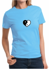 Ladies Yoga Shirt Yin Yang Heart Small Print Tee T-Shirt