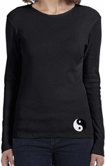 Ladies Yoga Shirt Yin Yang Patch Bottom Print Long Sleeve Tee T-Shirt