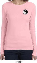 Ladies Yoga Shirt Yin Yang Patch Pocket Print Long Sleeve Tee T-Shirt