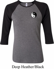Ladies Yoga Shirt Yin Yang Patch Pocket Print Raglan Tee T-Shirt
