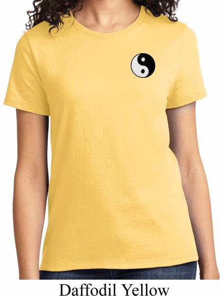 f0fe224ce046e Ladies Yoga Shirt Yin Yang Patch Pocket Print Tee T-Shirt - Yin Yang ...