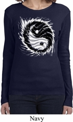 Ladies Yoga Shirt Yin Yang Sun Long Sleeve Tee T-Shirt