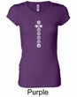 Ladies Yoga T-shirt 7 Chakras White Print Longer Length Shirt