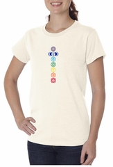Ladies Yoga T-shirt 7 Colored Chakras Organic Tee Shirt