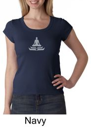 Ladies Yoga T-shirt � Lotus Pose Meditation Scoop Neck Shirt
