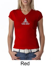 Ladies Yoga T-shirt � Lotus Pose Meditation V-neck Shirt