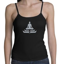 Ladies Yoga Tank � Lotus Pose Spaghetti Strap Tanktop - Black