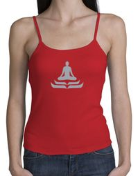 Ladies Yoga Tank � Lotus Pose Spaghetti Strap Tanktop - Red