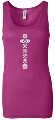 Ladies Yoga Tank Top 7 Chakras White Print Longer Length Tanktop