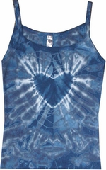 Ladies Yoga Tank Top - Blue Heart Ladies Tie Dye Tanktop