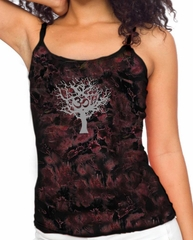 Ladies Yoga Tank Top Grey Tree of Life Tie Dye Tanktop