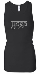 Ladies Yoga Tank Top Sanskrit Yoga Text Longer Length Racerback Tank