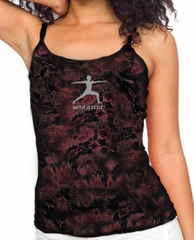 Ladies Yoga Tank Top Warrior 2 Pose Tie Dye Camisole Tanktop
