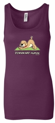 Ladies Yoga Tanktop Downward Human Longer Length Tank Top