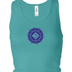 Ladies Yoga Tanktop Floral Sahasrara Longer Length Racerback Tank Top