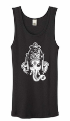 Ladies Yoga Tanktop Ganesha Head Black Organic Tank Top