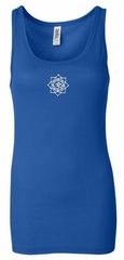 Ladies Yoga Tanktop White Lotus OM Small Print Longer Length Tank Top
