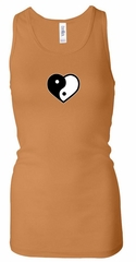 Ladies Yoga Tanktop Yin Yang Heart Small Print Longer Length Racerback