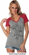 Ladies Yoga Tee Black Sketch Ganesha Contrast V-neck