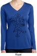 Ladies Yoga Tee Black Sketch Ganesha Dry Wicking Long Sleeve