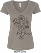 Ladies Yoga Tee Black Sketch Ganesha V-Neck Shirt