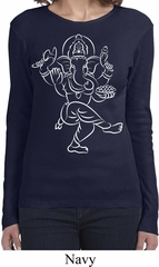Ladies Yoga Tee Sketch Ganesha White Print Long Sleeve