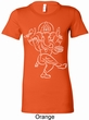 Ladies Yoga Tee Sketch Ganesha White Print Longer Length Shirt