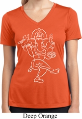 Ladies Yoga Tee Sketch Ganesha White Print Moisture Wicking V-neck