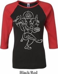 Ladies Yoga Tee Sketch Ganesha White Print Raglan Shirt