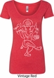 Ladies Yoga Tee Sketch Ganesha White Print Scoop Neck