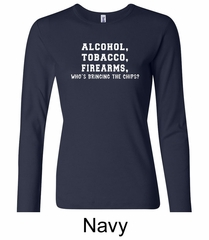 Law Enforcement Shirt Alcohol Tobacco Firearms Ladies Long Sleeve Tee