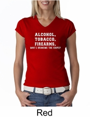 Law Enforcement Shirt Alcohol Tobacco Firearms Ladies V-neck Shirt