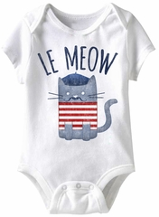Le Meow Funny Baby Romper White Infant Babies Creeper