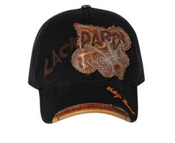 Leather Patches Embroidered Hat - Lackpard Cap - Black