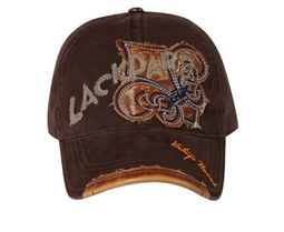 Leather Patches Embroidered Hat - Lackpard Cap - Dark Brown